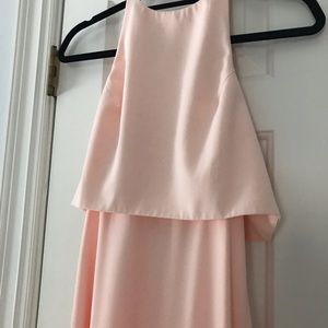 Blush maxi bridesmaid dress